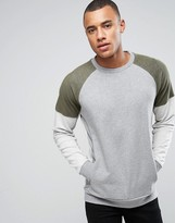 ONLY & SONS Sweatshirt With Raglan Sleeves in Mixed Fabric