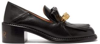 Gucci Dora Leather Heeled Loafers - Womens - Black