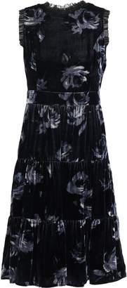 Kate Spade Star Bright Georgette-trimmed Floral-print Velvet Dress