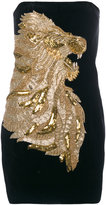 Balmain lion embossed mini dress - women - Cotton/Acrylic/Polyamide/glass - 38