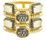 Freida Rothman Women's Gilded Cable Stone & Pave Cage Ring