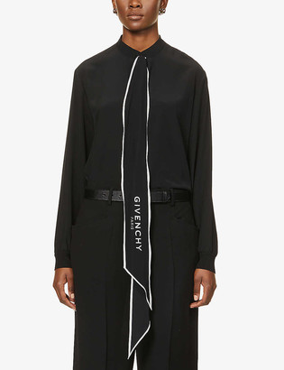 Givenchy Logo-print silk-crepe shirt