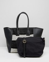Silvian Heach Large East West Shopper With Woven Monochrome Panel