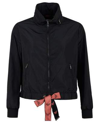 Emporio Armani Nylon Logo Drawstring Jacket Colour: BLACK, Size: 8