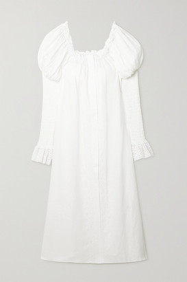 Sleeper Opera Off-the-shoulder Lace-trimmed Linen Midi Dress - White