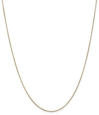 Curata 14k Yellow Gold Solid 0.65mm Round Snake Chain Necklace