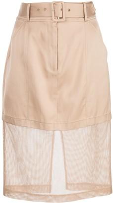 Fleur Du Mal Mesh Panel Pencil Skirt