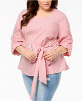 INC International Concepts I.n.c. Plus Size Striped Tucked-Sleeve Shirt, Created for Macy's