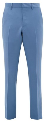 Burberry Mohair-blend Straight-leg Suit Trousers - Mens - Blue