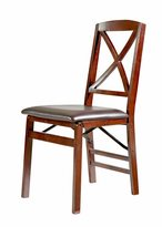 Linon Lesvos Espresso x Back Folding Chair (Set of 2), Dark Brown Seat