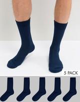 Asos Waffle Socks 5 Pack In Navy