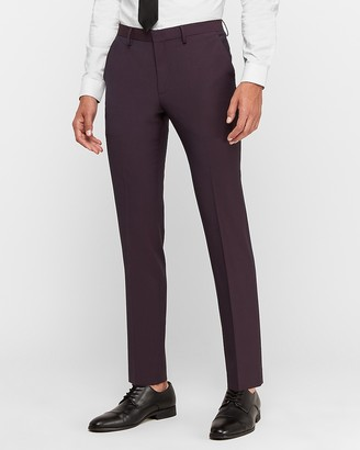 Express Extra Slim Burgundy Wool-Blend Performance Stretch Suit Pant