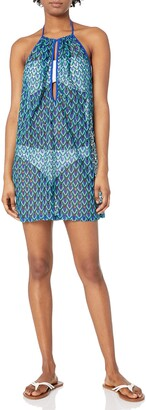 Luli Fama Women's Blue Kiss Front Row Mini Dress Cover Up