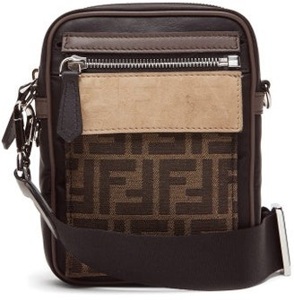 Fendi Ff Coated-canvas And Leather Cross-body Bag - Brown Multi