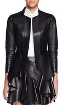 Alexander McQueen Bonded Leather Jacket, Black