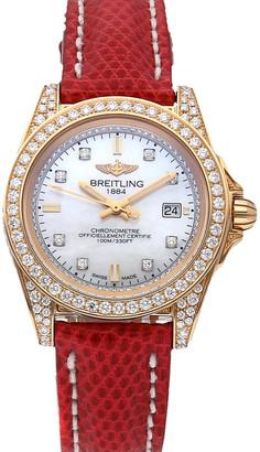 Breitling MOP Diamonds 18K Rose Gold Galactic Sleek Limited Edition H7133063/A804 Women's Wristwatch 32 MM