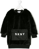 DKNY faux fur sweatshirt dress