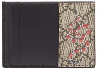 Gucci Snake-print Gg Supreme Coated Canvas Cardholder - Beige