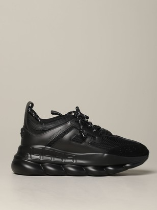 Versace Chain Reaction Sneakers In Leather And Mesh With Logo