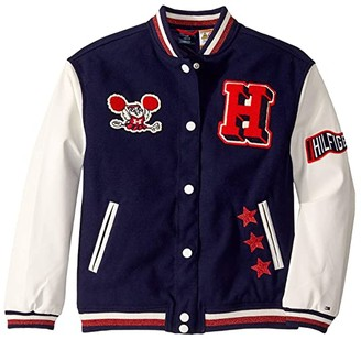Tommy Hilfiger Adaptive Varsity Jacket with Magnetic Buttons (Little Kids/Big Kids) (Evening Blue/Multi) Women's Clothing