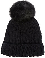 Barneys New York WOMEN'S POM-POM-EMBELLISHED HAT-BLACK