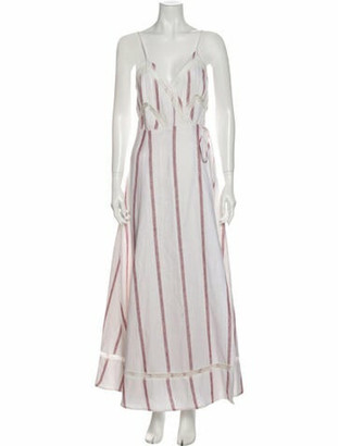Reformation Striped Long Dress White