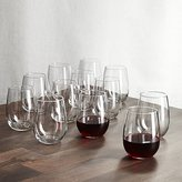 Crate & Barrel Set of 12 Stemless Wine Glasses 17 oz.