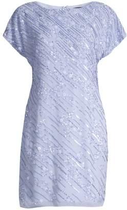 Aidan Mattox Cap Sleeve Embellished Shift Dress