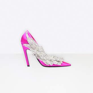 Balenciaga Pointed toe satin pumps with broken heel effect