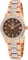 Jivago Magnifique Womens Brown Dial Rose-Tone Stainless Steel Bracelet Watch