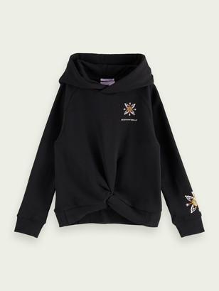 Scotch & Soda 100% cotton wrap over artwork hoodie | Girls