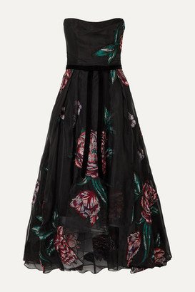 Marchesa Strapless Velvet-trimmed Embroidered Organza Gown - Black
