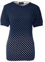 Lands' End Women's Tall Supima Short Sleeve Print Sweater-Celestial Blue Dot