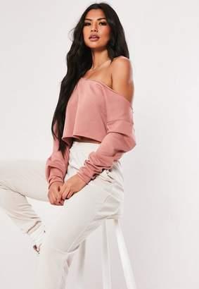 Missguided Rose Off Shoulder Crop Sweatshirt