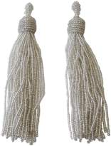 Kenneth Jay Lane Silvertone Seed Bead Long Tassel Drop Pierced Earrings