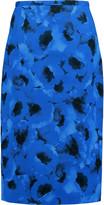 Michael Kors Floral-print cotton and silk-blend cloqué midi skirt