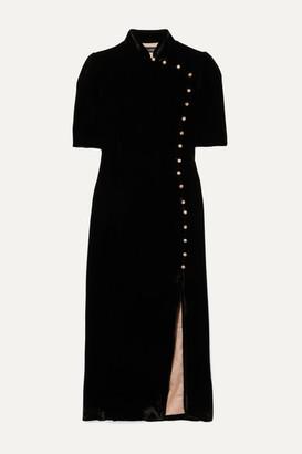 Saloni Venyx Taro Button-embellished Velvet Midi Dress - Black