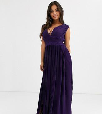 Asos DESIGN Petite premium lace insert pleated maxi dress