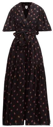 Gül Hürgel Floral-print Balloon-sleeve Midi Dress - Womens - Navy Print