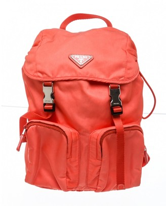 Prada Orange Cloth Backpacks