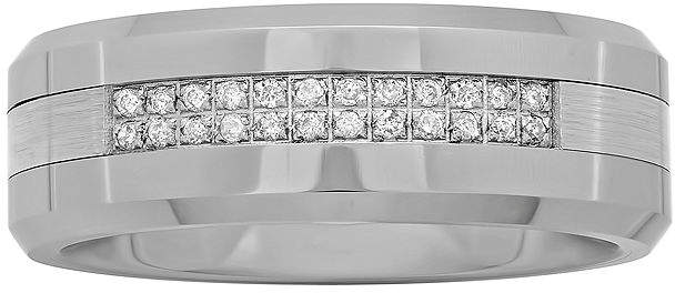 JCPenney MODERN BRIDE Personalized Mens 1/8 CT. T.W. Diamond 8mm Tungsten Carbide Wedding Band