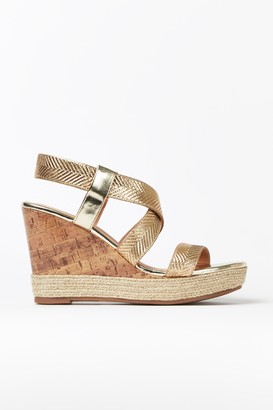 Wallis Gold Textured Strap Wedge Sandal
