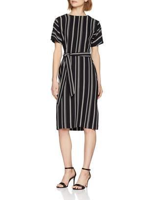Warehouse Women's Stripe Button Detail Wiggle A-Line Striped Short Sleeve Dress