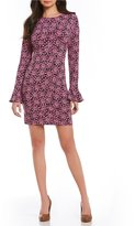 MICHAEL Michael Kors Large Jewel Mesh Print Matte Jersey Long Sleeve Flounce-Cuff Dress