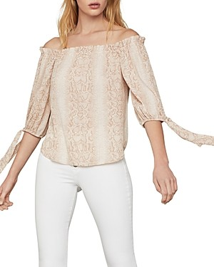 Bcbgmaxazria Python Off-Shoulder Blouse