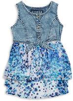 GUESS Girls 7-16 Denim Hi-Lo Printed Dress