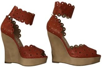 Oscar de la Renta Orange Leather Sandals