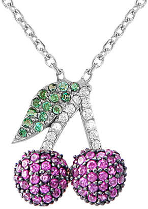 GABIRIELLE JEWELRY Silver Cz Ruby Cherry Necklace