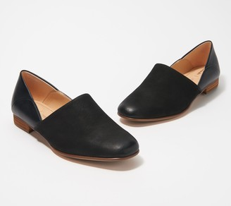 Clarks Leather & Suede Slip-On Shoes - Pure Tone