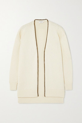Saint Laurent Chain-embellished Knitted Cardigan - Ivory